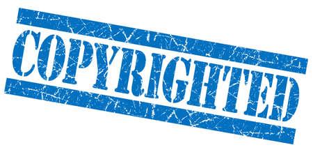 copyrighted: Copyrighted blue grunge stamp