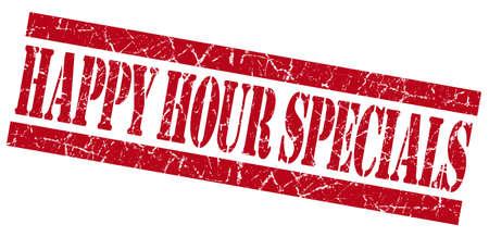 specials: Happy hour specials grunge red stamp