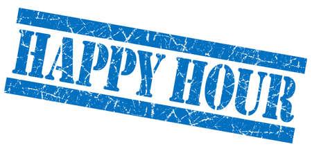 happy hour: Happy hour grunge blue stamp