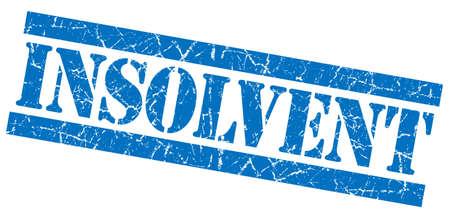 moneyless: Insolvent grunge blue stamp