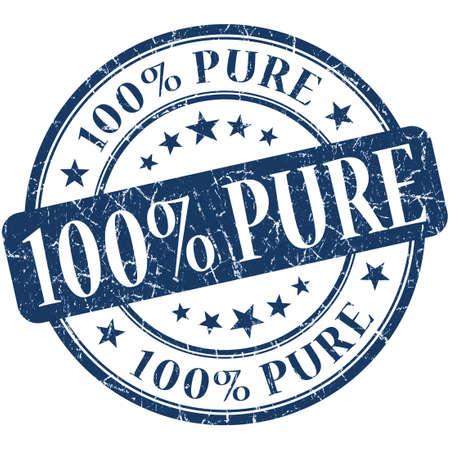 100% Pure grunge blue round stamp photo