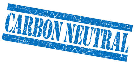 carbon neutral: Carbon neutral grunge blue stamp