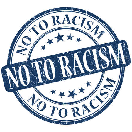 No to racism grunge blue round stamp photo