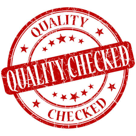 assured: Quality checked grunge red round stamp Stock Photo