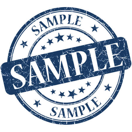 Sample grunge blue round stamp