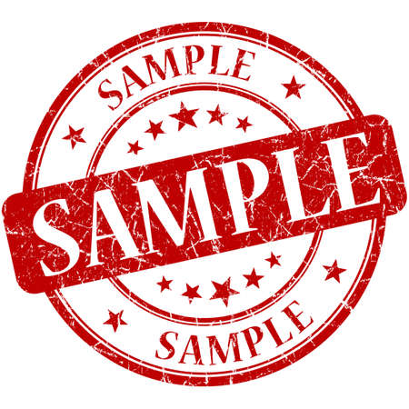 Sample grunge red round stamp 写真素材