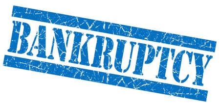 moneyless: Bankruptcy grunge blue stamp