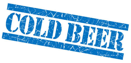 Cold beer grunge blue stamp Stock Photo