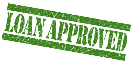 Loan approved grunge green stamp photo
