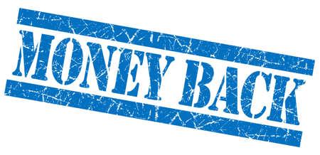 money back: Money back grunge blue stamp