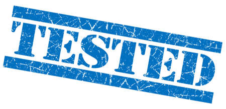 acceptation: Tested blue grunge stamp Stock Photo