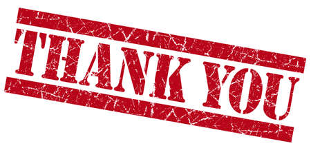 Thank you red grunge stamp Stock Photo