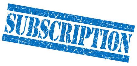 subscription: Subscription blue grunge stamp