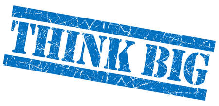 Think big blue grunge stamp photo