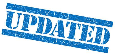 upgrading: Updated blue grunge stamp Stock Photo
