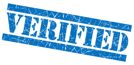 acceptation: Verified blue grunge stamp
