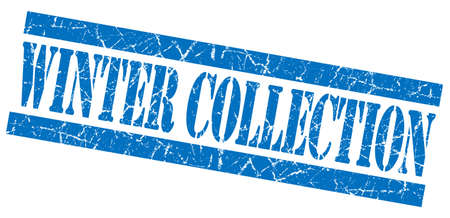 Winter collection blue grunge stamp photo
