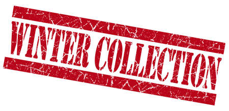 Winter collection red grunge stamp photo