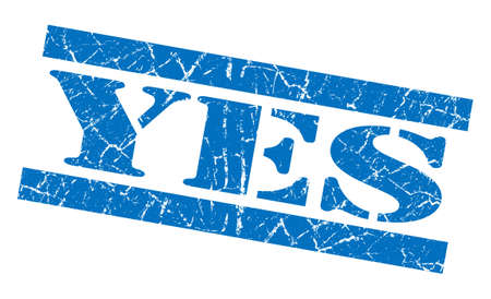 certainty: Yes blue grunge stamp Stock Photo