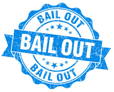 bail: Bail out blue grunge vintage seal Stock Photo