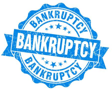 moneyless: Bankruptcy blue grunge vintage seal Stock Photo