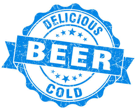 Delicious cold beer blue grunge vintage seal photo
