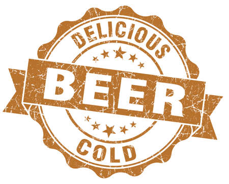 Delicious cold beer brown grunge vintage seal photo
