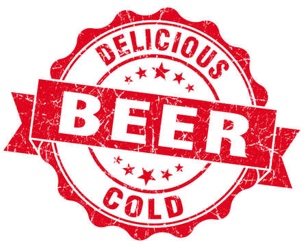 Delicious cold beer red grunge vintage seal Stock Photo - 24310414