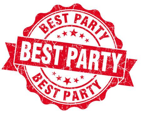 best party: Miglior partito rosso vintage grunge sigillo Archivio Fotografico