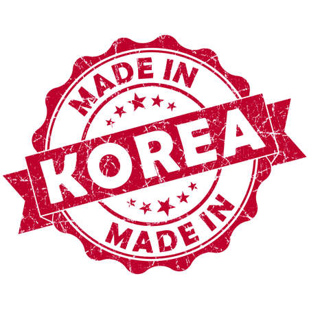 made in Korea red grunge seal