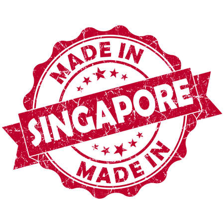 made in Singapore red grunge seal photo