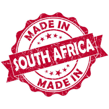 made in South Africa red grunge seal photo