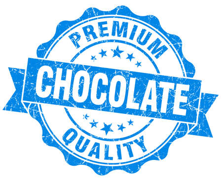 Chocolate blue vintage seal isolated on white photo