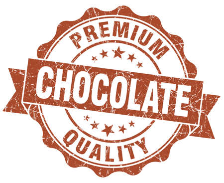 Chocolate brown vintage seal isolated on white photo