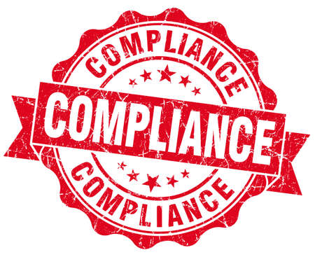Compliance red vintage seal isolated on white photo