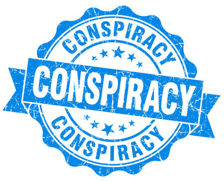 conspire: Conspiracy blue vintage seal isolated on white