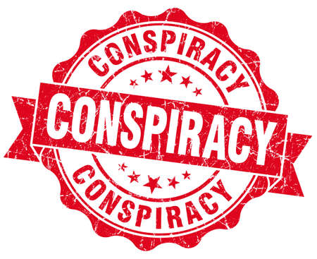 conspire: Conspiracy red vintage seal isolated on white Stock Photo