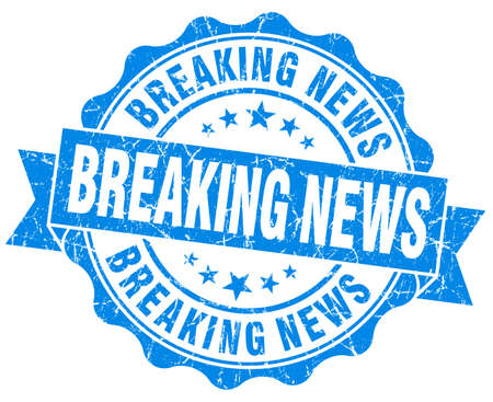 importance: Breaking news blue vintage seal isolated on white