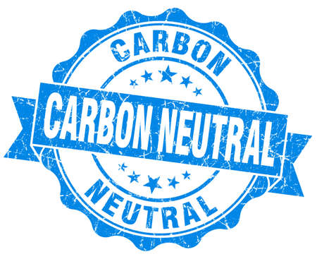 co2 neutral: Carbon neutral blue vintage seal isolated on white