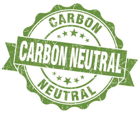 co2 neutral: Carbon neutral green vintage seal isolated on white