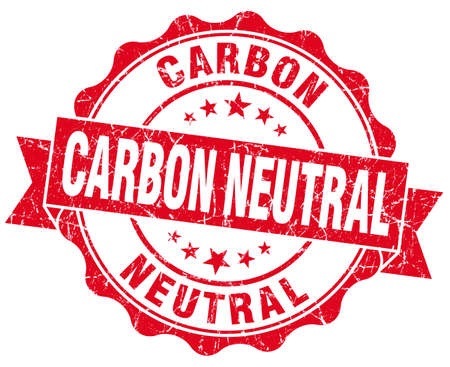 carbon neutral: Carbon neutral red vintage seal isolated on white
