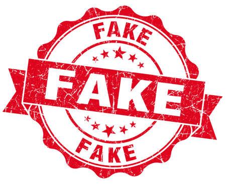 untrue: Fake grunge red vintage round isolated seal