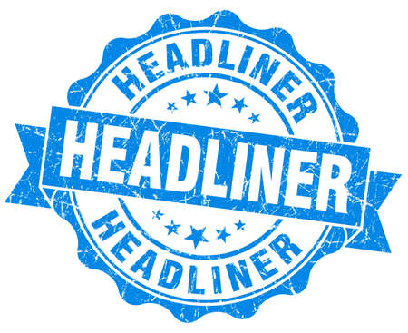 headliner: Headliner grunge blue vintage round isolated seal