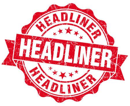 headliner: Headliner grunge red vintage round isolated seal Stock Photo