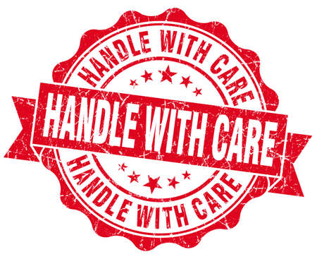 breakable: Handle with care grunge red vintage round isolated seal Stock Photo