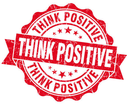 Think positive grunge red vintage round isolated seal photo