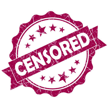 censure: Censored pink vintage round grunge seal isolated on white Stock Photo