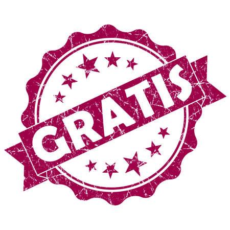 gratis: GRATIS pink vintage round grunge seal isolated on white background