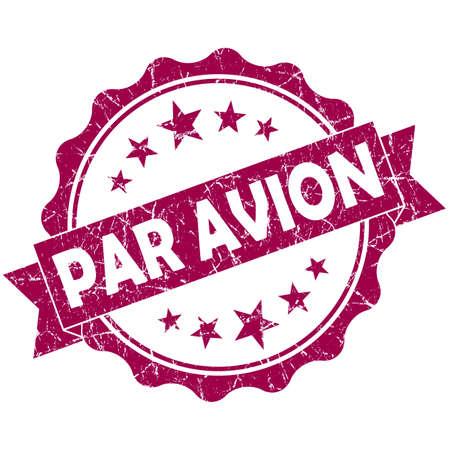 avion: Par AVION pink vintage round grunge seal isolated on white background