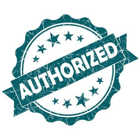 authorized: Authorized turquoise vintage round grunge seal isolated on white background